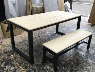 hotaru 男前家具 ダイニング テーブル ベンチ1台付き 無垢材 天然木 オーダー可の画像