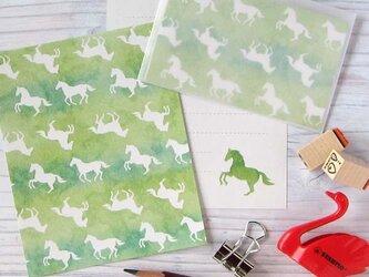 草原と馬 ミニレターセットの画像