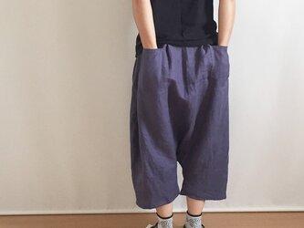 【受注制作】ネイビーパープルリネンのゆったりバルーンパンツの画像