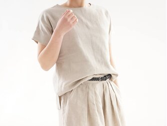 【wafu】中厚 リネン トップス ドロップショルダー ブラウス Tシャツ / 亜麻ナチュラル t001f-amn2の画像