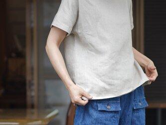 【wafu】中厚 リネン トップス ドロップショルダー ブラウス Tシャツ 半袖/亜麻ナチュラル t001f-amn2の画像