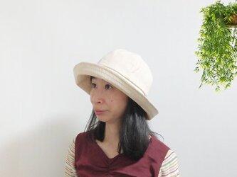 広すぎないつば広のストライプ女優帽【ストライプキャペリーヌ PS0644-BG】の画像