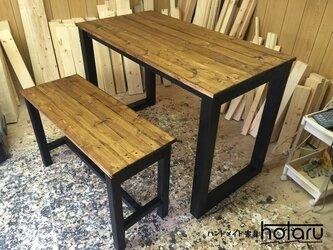 hotaru 机 勉強机 PC机 作業台 ベンチ1台付き 男前家具 天然木 無垢材 オーダー可の画像