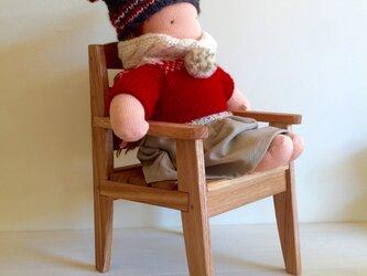 お人形の椅子・・30cmくらいまでのお人形に・・ナチュラル仕上げの画像