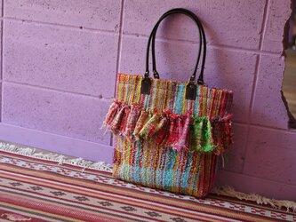 手織り フリルトートバッグの画像