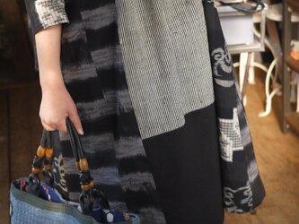 古布筒がきと久留米絣のチェックワンピースの画像