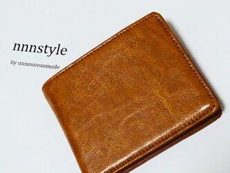 男の二つ折り財布 レザーの画像