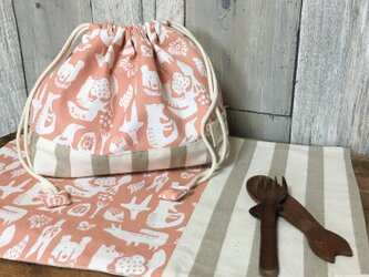 E様オーダー分【通園通学】動物柄お弁当袋・ランチマットセット(ピンク)の画像