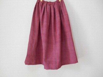 春の縞柄着物リメイクスカート★総丈78cmの画像