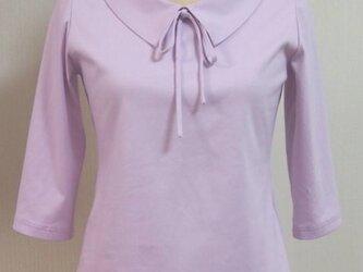 (再販)ショールカラーのリボン大好きTシャツ(ピンクパープル)の画像