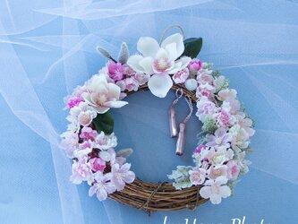 春爛漫!マグノリアと桜のリース  リース台:20㎝  (125-2)の画像