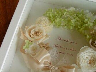 サンクスボード  フラワーボックス (グリーンリース&ホワイトBOX) 贈呈品 結婚祝 誕生日 記念日 お祝いの画像
