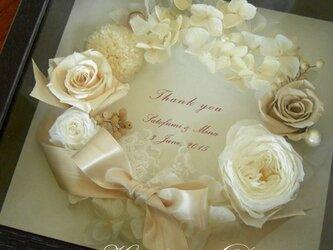 サンクスボード  フラワーボックス (ホワイトリース&ブラウンBOX) メッセージ 結婚祝  贈呈品 記念日 お祝の画像