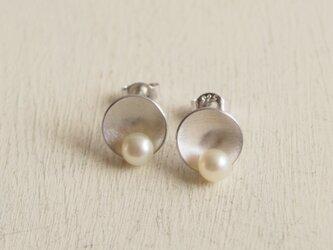 【再販】- Silver -  Lotus Leaf ピアス w/ Pearlの画像