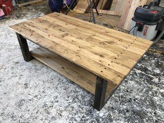 hotaru ローテーブル 棚付き カリフォルニア風 カフェ テーブル 天然木 無垢材 オーダー可の画像