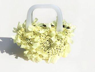 [cyane]basket bag / fabric:yellow × handle:whiteの画像