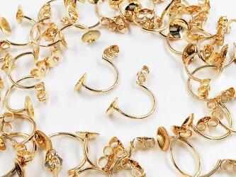送料無料 ピアス キャッチ ゴールド KC金 40個(20ペア ピアスパーツ ガラスドーム チャーム キャップ  AP0456の画像
