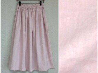リネンcotton(ピンク)綿麻ワッシャー・ロングスカートの画像