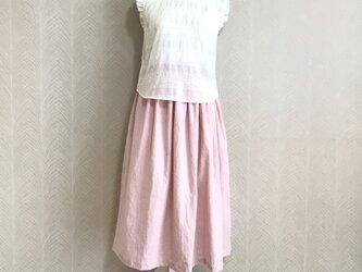 リネンcotton(さくら)綿麻ワッシャー・ロングスカートの画像