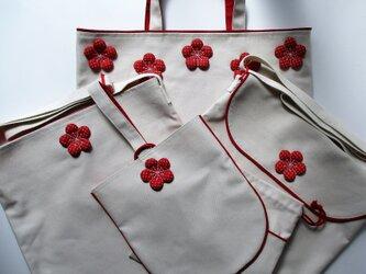 k様オーダー品 梅花入園入学袋物5点セットの画像