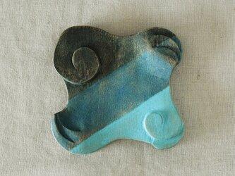木彫り手鏡 アールデコ helix 青の画像