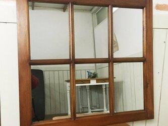 アンティーク調 木製窓枠 鏡 壁掛けミラー ナチュラル 6枠の画像