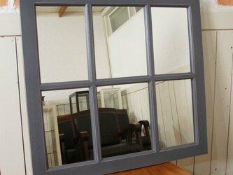 アンティーク調 木製窓枠 鏡 壁掛けミラー シャビー 6枠 グレーの画像