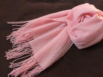 カシミヤ100% 上品なピンク 手織り 桜色の画像
