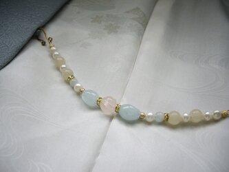 【セール】アクアマリンとローズクォーツの羽織紐 ブレスレット 天然石 一点もの 着物 和装小物の画像