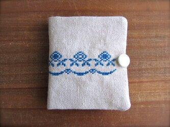 クロスステッチのニードルブック お花ライン ブルーの画像