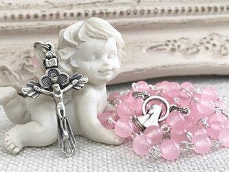 桜カラークォーツァイトのロザリオ(0303)の画像