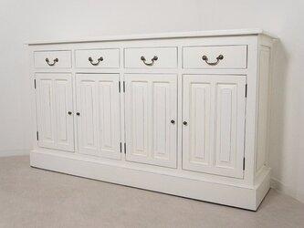 アンティーク調 マホガニー 無垢 レジ台 カウンター 店舗什器 収納棚 ホワイトの画像