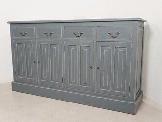 アンティーク調 マホガニー 無垢 レジ台 カウンター 店舗什器 収納棚 グレーの画像