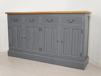 アンティーク調 マホガニー 無垢 レジ台 カウンター 店舗什器 収納棚 グレー 天板 木目の画像