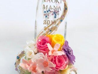 【プリザーブドフラワー/ガラスの靴リングピロー/ウェディング】プリンセスの金色の髪と魔法【リボンラッピング付き】の画像