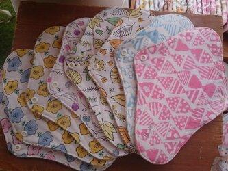 手つむぎオーガニックコットン布ナプキン一体型レギュラー☆木版プリントの画像