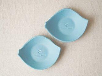 マカロンブルー・葉っぱの小皿の画像