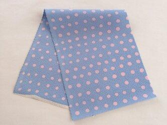絹手染ハギレ(ドット・淡ピンク薄青)の画像