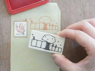 郵便番号枠はんこ 桜の木の画像