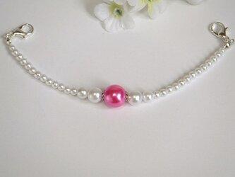 羽織紐◆大人可愛く☆白と艶めく鮮やかピンクの画像
