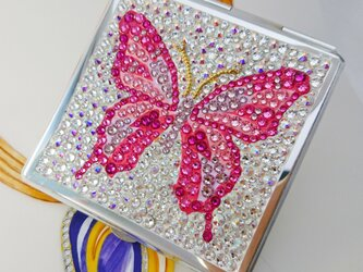 蝶 ミラー ピンク系【スワロデコ】の画像