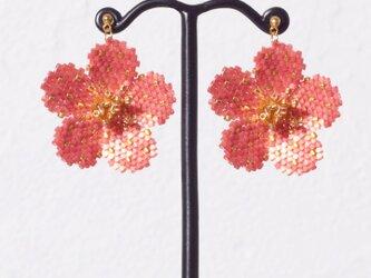 Bijoux Flower Earring ( crimson red )の画像