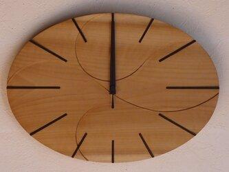 無垢の木の電波掛け時計 ほう 0007の画像