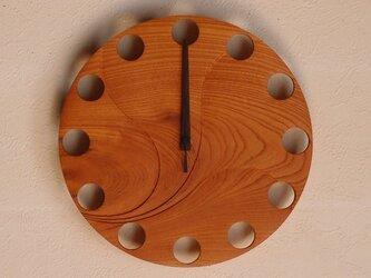 無垢の木の電波掛け時計 けやき 0056の画像