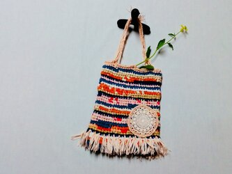 裂き編み*春色の巾着トートの画像