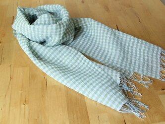 手織り麻ストール 白・ブルー&グリーンチェックの画像