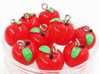 送料無料 チャーム フルーツ リンゴ 10個 11mmx12.5mm レッド 林檎 りんご パーツ アップル (AP0463)の画像