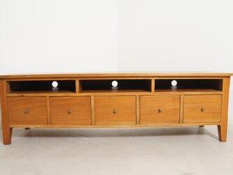 ハンドメイド 木製 無垢材 5杯ドロワー テレビボード ローボード AVボード 150cm ナチュラルの画像