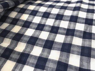 【生地】ガーゼ チェック ネイビー 綿 麻 レーヨンの画像