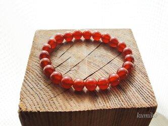 赤メノウのシンプルなブレスレットですの画像